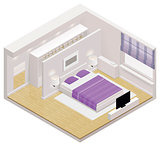 Vector isometric bedroom icon