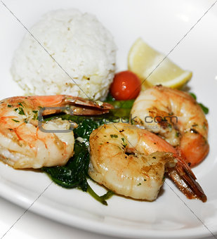Grilled Shrimps With Rice