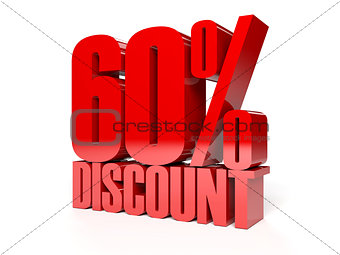 60 percent discount. Red shiny text.