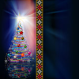 Abstract celebration greeting with Christmas tree and decoration