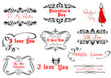 Calligraphic elements for Valentine's Day design