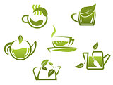 Green tea symbols and icons