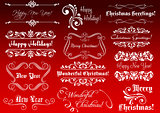 Winter holidays greetings and calligraphic elements