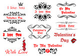 Calligraphic elements and scripts for Valentine's Day