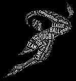 rugby football pictogram with white wordings