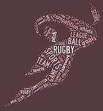 rugby football pictogram with pink wordings