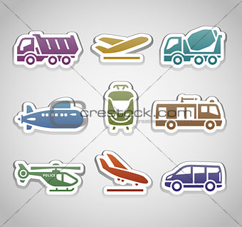 flat retro color stickers - set thirteen