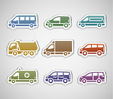 flat retro color stickers - set five