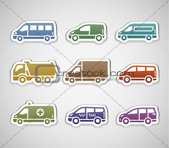 flat retro color stickers - set five