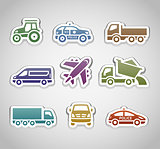 flat retro color stickers - set four