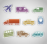 flat retro color stickers - set seven