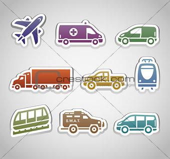 flat retro color stickers - set seven