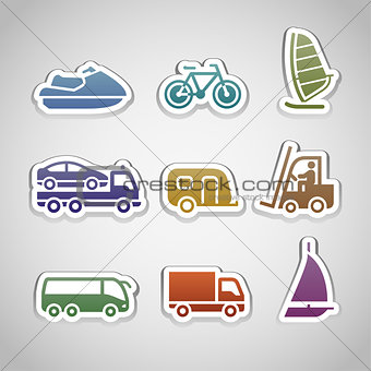 flat retro color stickers - set eight
