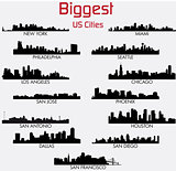 Set of Biggest American cities vector skylines