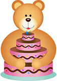 Teddy Bear Hugging Birthday Cake