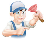 Cartoon Janitor or Plumber