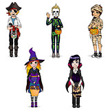 Halloween costume of pirate, skeleton, mummy, witch and vampire