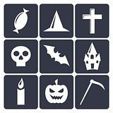 Halloween flat vector icons. Set 1
