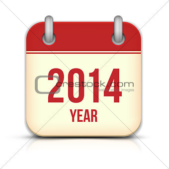 2014 Year Vector Calendar App Icon With Reflection