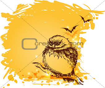Grunge background with owl