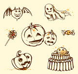 Vintage Halloween elements