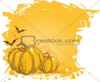 Grunge background with pumpkins