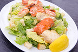 Caesar Salad with Prawns Salmon and White Fish