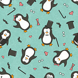 Seamless background with funny penguins.