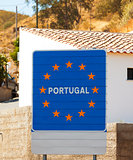 Road sign on the border, Portugal