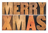 Merry Xmas in wood type
