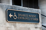 Disabled handicap entrance entrance sign
