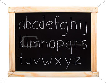 Alphabet written on blackboard