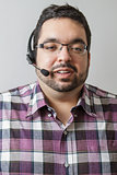 man talking on headset