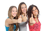 Group of three girls with thumb up