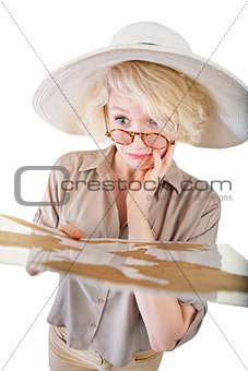Confused Blond Woman with Map