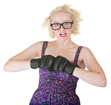 Blond with Boxing Gloves