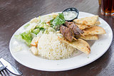 Lamb Kebab with Rice Naan and Salad