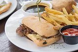 Philadelphia Beef Cheese Steak Sandwich Closeup