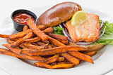 Salmon Steak Sandwich with Sweet Potato Fries