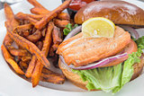 Salmon Sandwich with Sweet Potato Fries Closeup