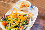 Spring Green Salad and Corn Chowder