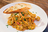 Seafood Pasta with Tomato Cream Sauce