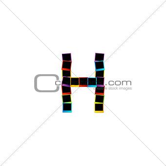 Alphabet H with colorful polaroids