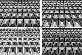 Abstract geometric backgrounds set.