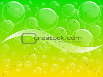 Air bubble on yellow and green background