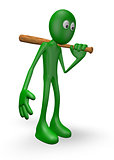 green guy with baseball bat