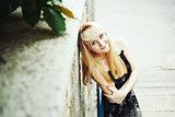 beautiful long hair blond female model posing
