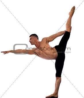 Man portrait gymnastic stretch balance