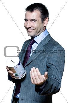 Portrait of businessman man begging for money