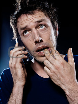 Funny Man Portrait Phoning